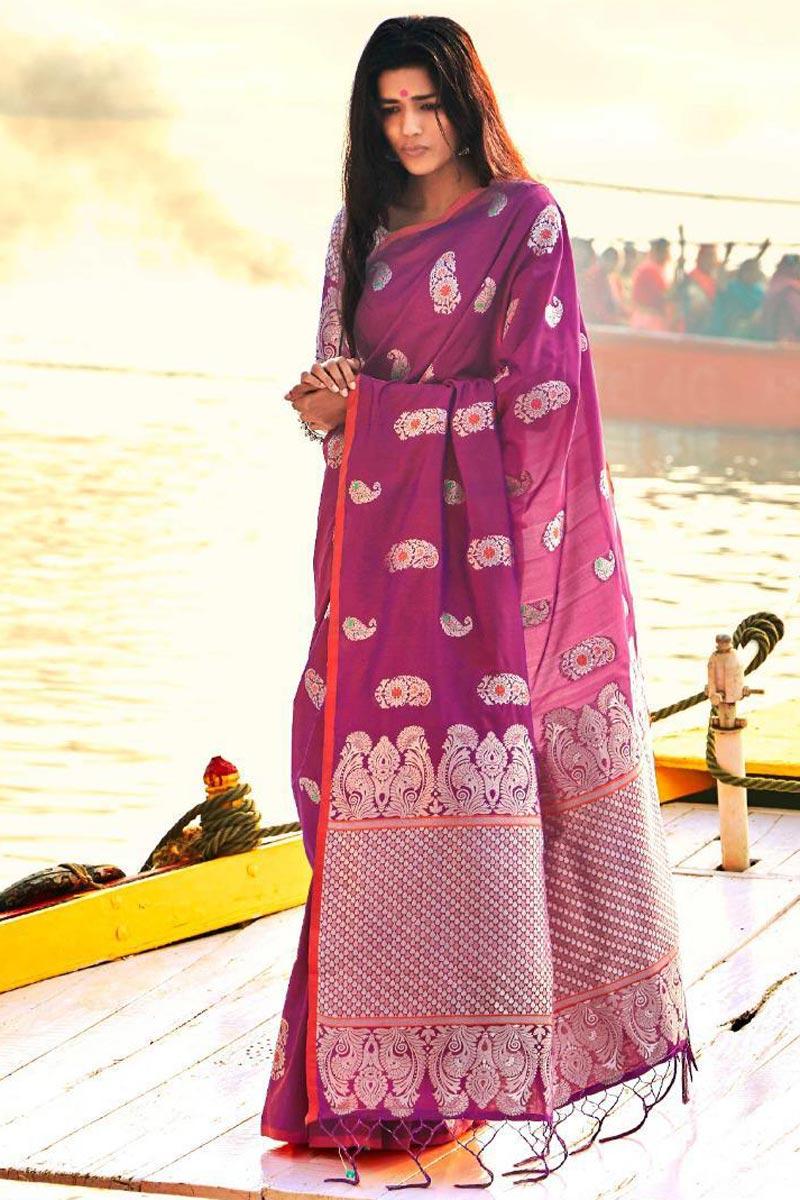 Soothing Purple Designer Party Wear Weaving Work Saree In Art Silk