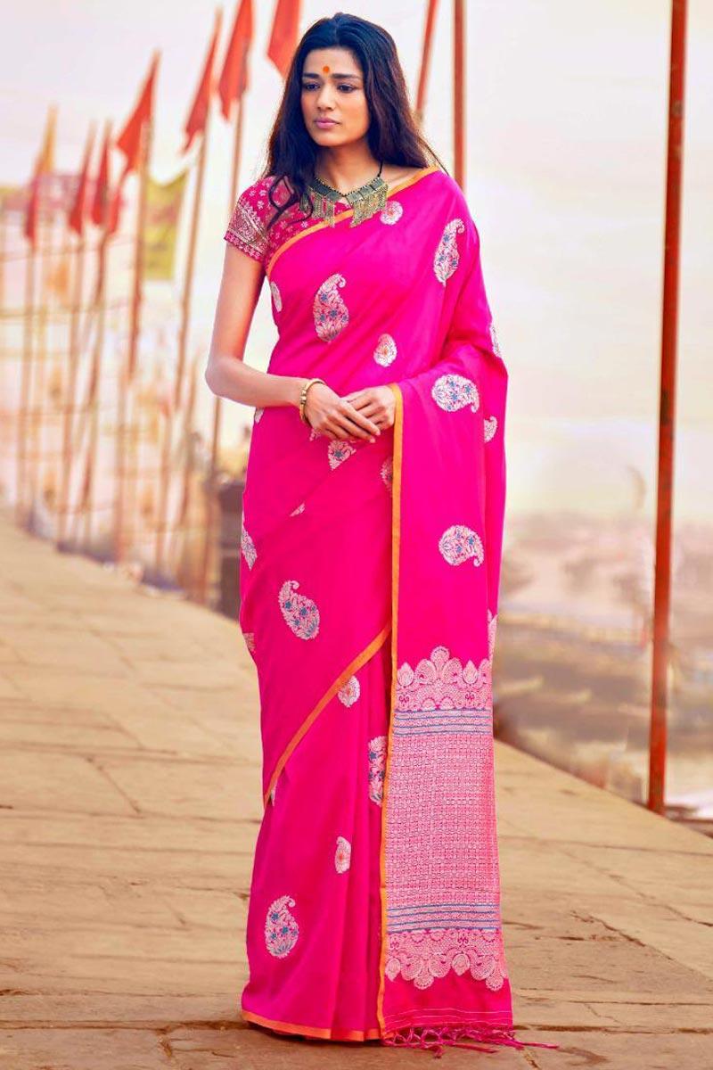 Gorgeous Art Silk Rani Color Party Wear Designer Weaving Work Saree