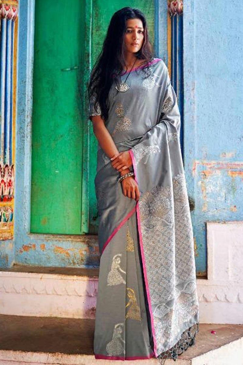 Pleasing Grey Party Wear Designer Art Silk Saree With Printed Work