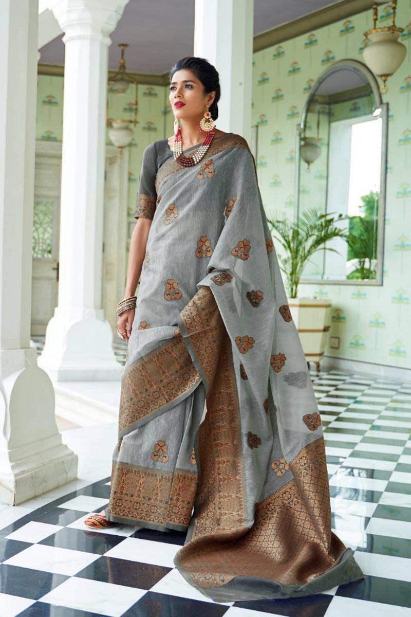 Grey Linen Silk Fabric Party Style Designer Weaving Work Saree