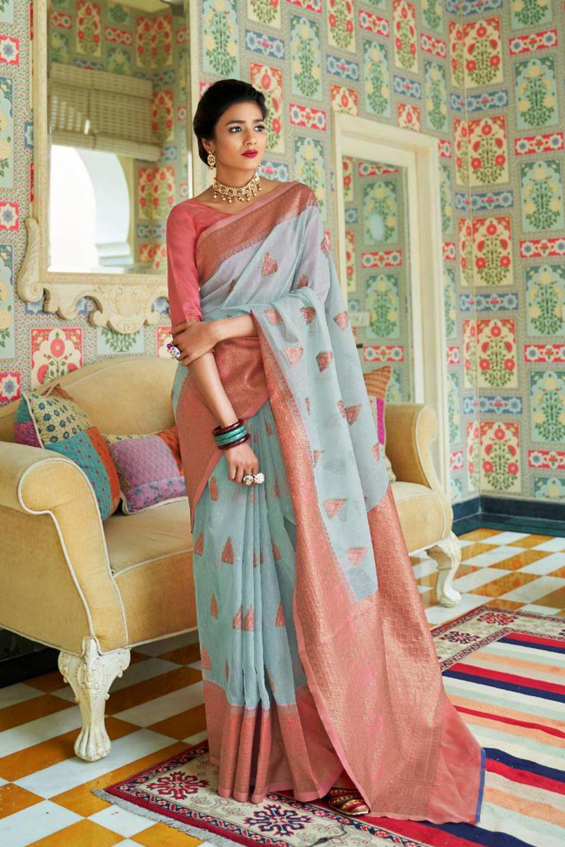 Party Style Linen Silk Fabric Designer Weaving Work Saree In Cyan
