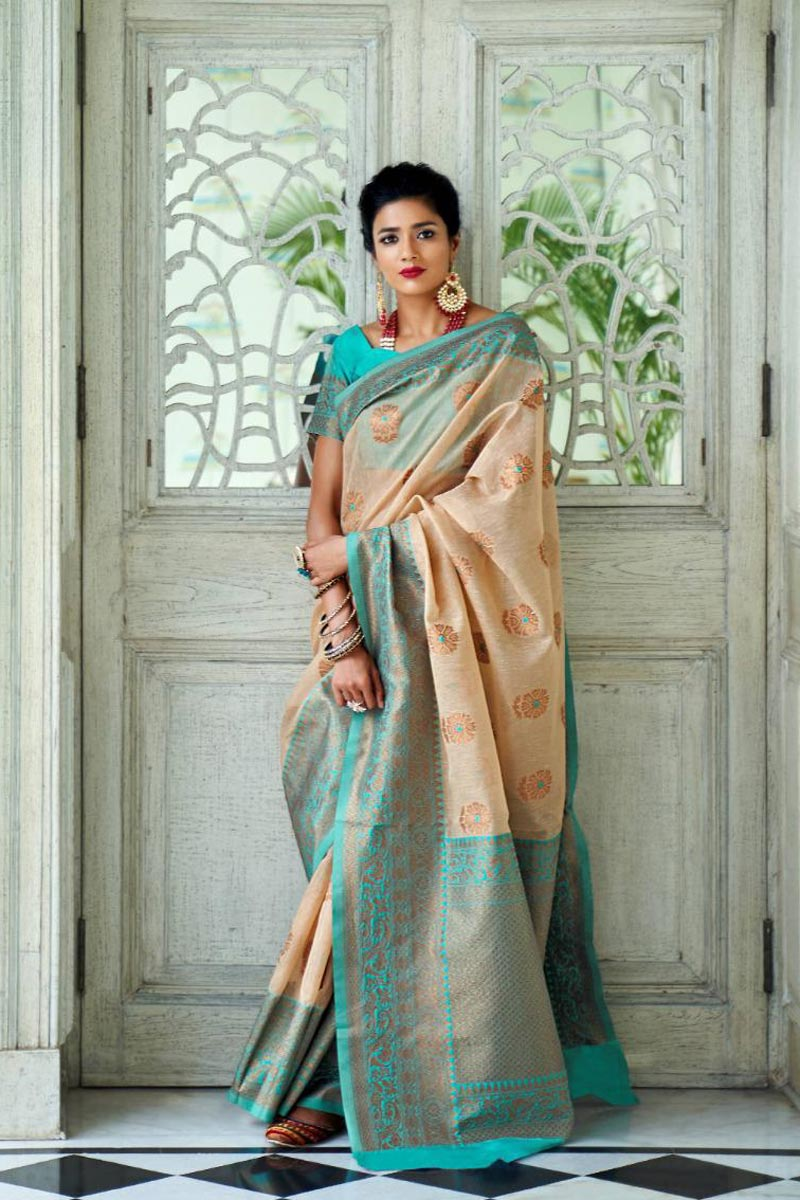 Linen Silk Fabric Party Style Designer Weaving Work Chikoo Color Saree