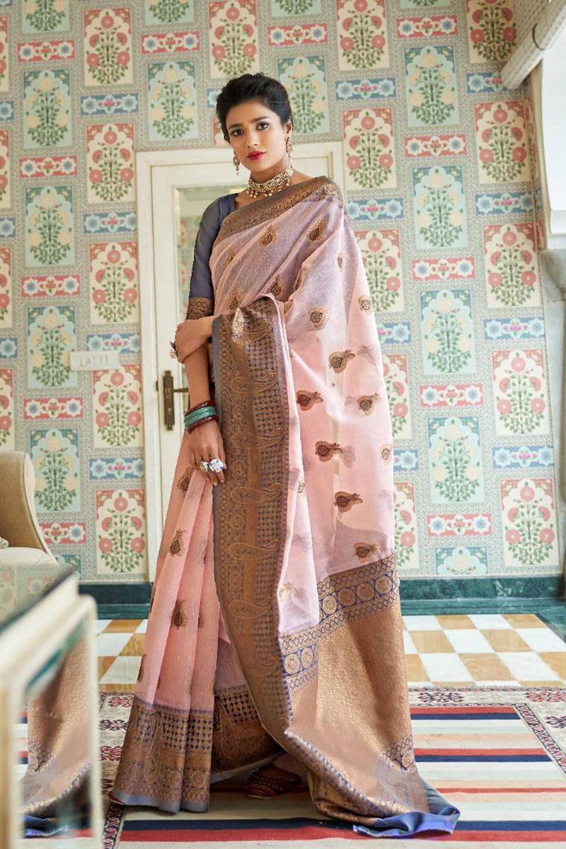 Party Style Pink Linen Silk Fabric Designer Weaving Work Saree
