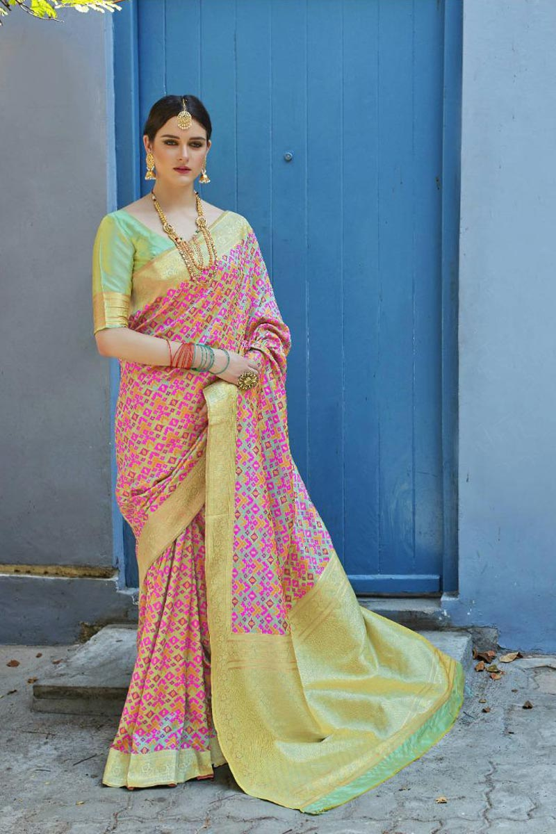 Art Silk Fabric Pink Party Style Designer Saree With Weaving Work