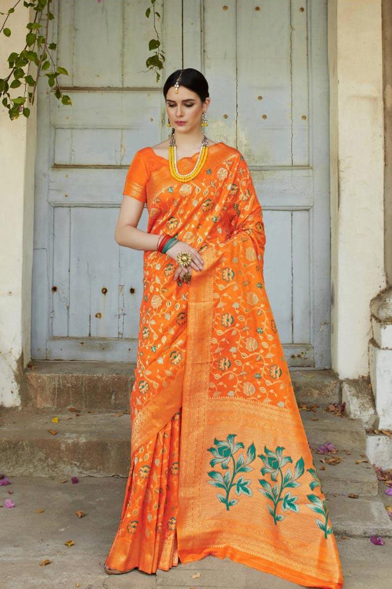 Party Style Designer Art Silk Fabric Orange Saree With Weaving Work