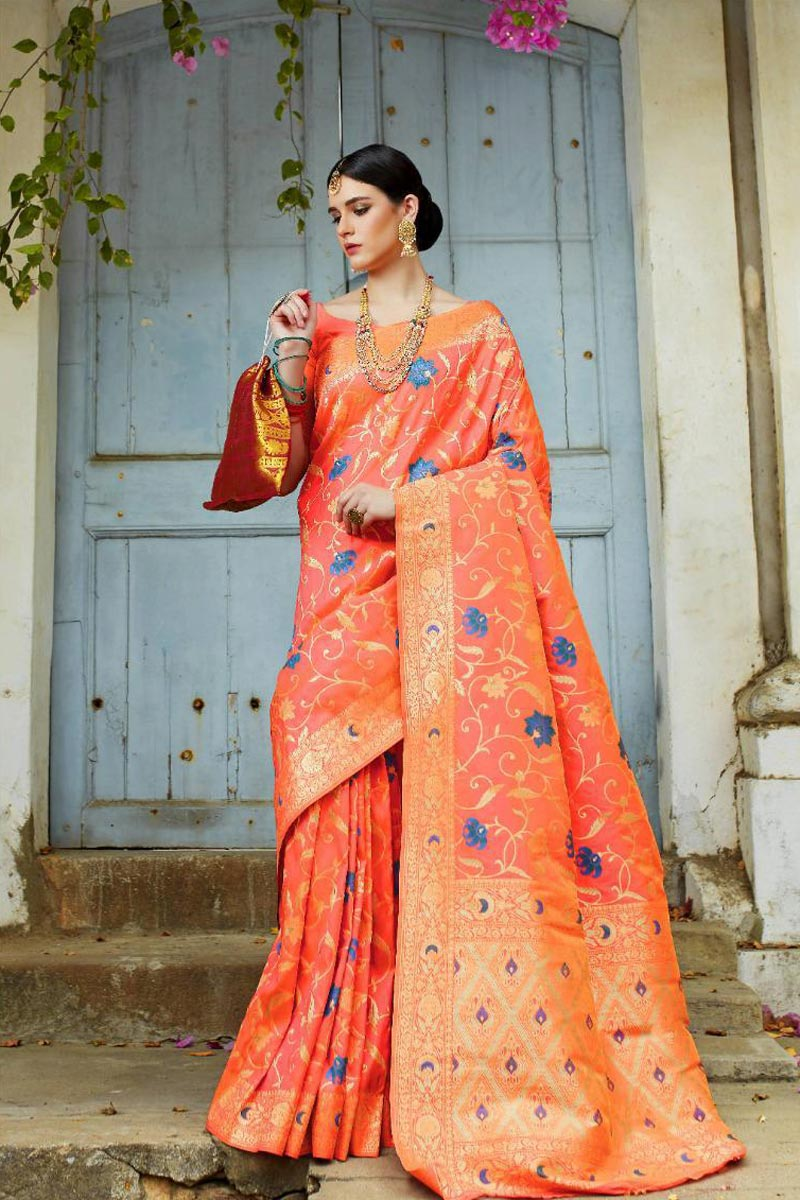 Party Style Designer Art Silk Fabric Saree In Peach With Weaving Work
