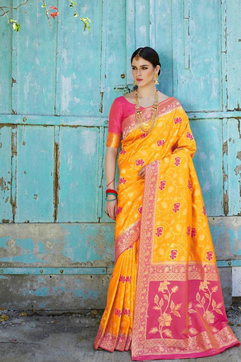 Mustard Party Style Designer Art Silk Fabric Saree With Weaving Work