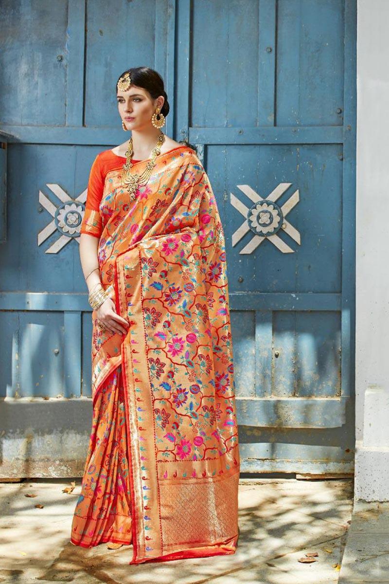 Party Style Designer Orange Art Silk Fabric Saree With Weaving Work