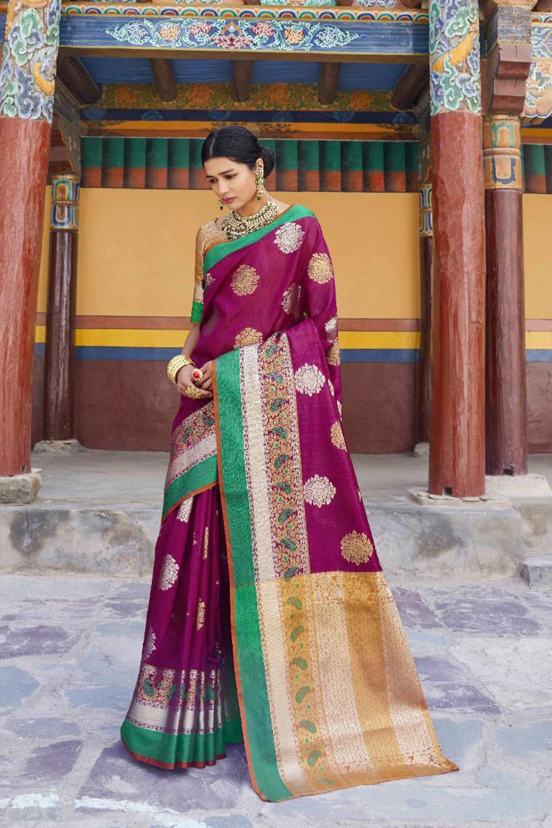 Art Silk Fabric Traditional Wear Purple Designer Weaving Work Saree
