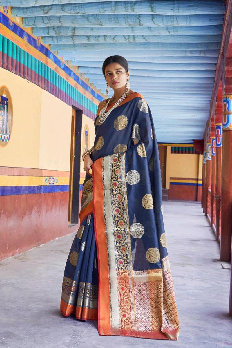 Designer Traditional Wear Art Silk Fabric Weaving Work Saree In Navy Blue