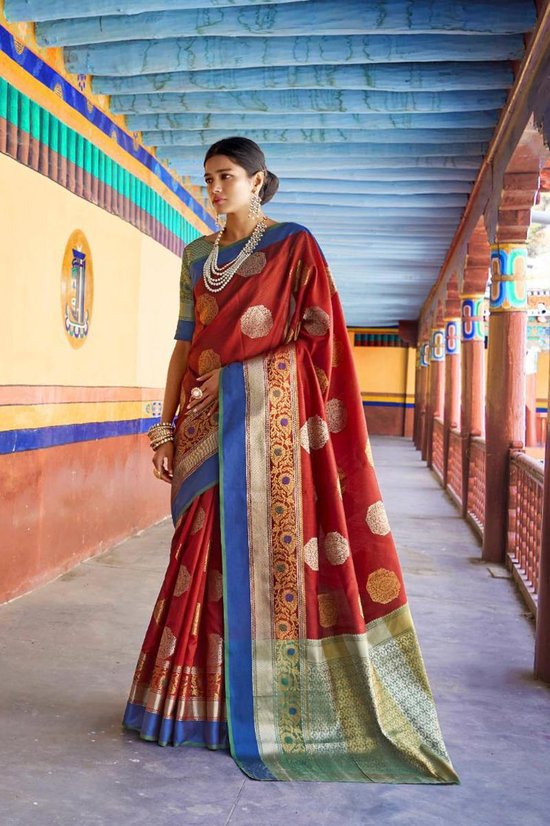 Red Traditional Wear Designer Weaving Work Saree In Art Silk Fabric