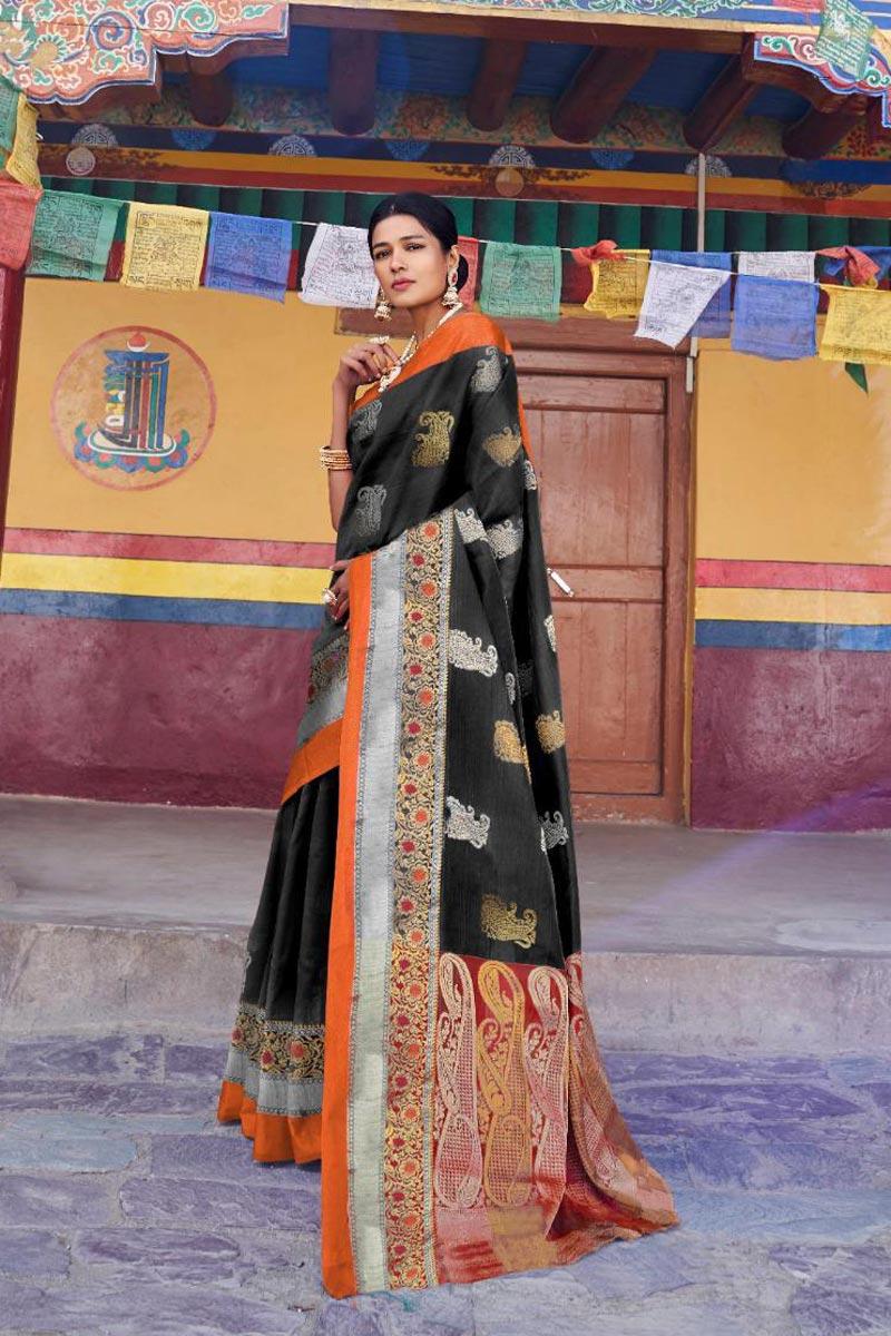 Traditional Wear Art Silk Fabric Black Designer Weaving Work Saree