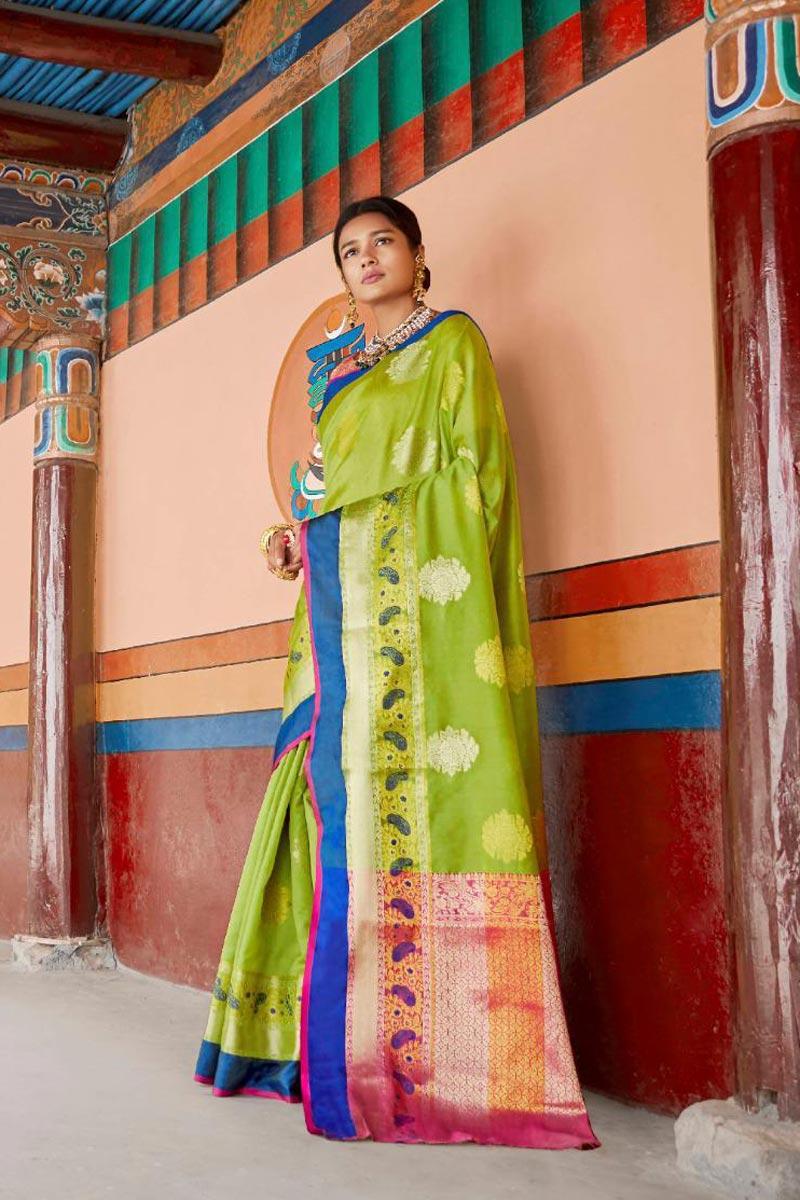 Green Traditional Wear Art Silk Fabric Designer Weaving Work Saree