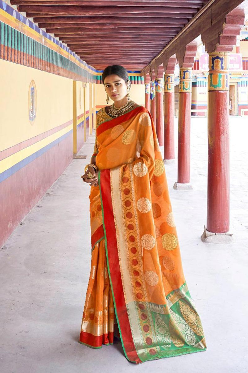 Designer Traditional Wear Orange Weaving Work Saree In Art Silk Fabric
