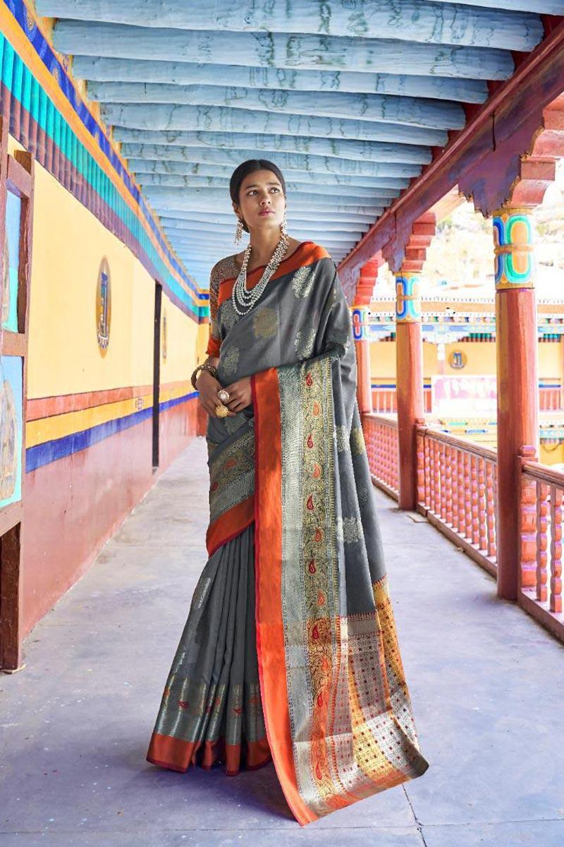 Traditional Wear Grey Designer Art Silk Fabric Weaving Work Saree