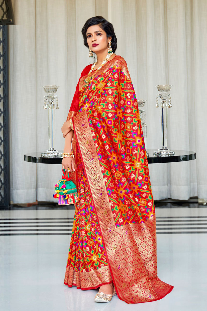 Red Color Art Silk Party Wear Saree With Weaving Work And Enigmatic Blouse