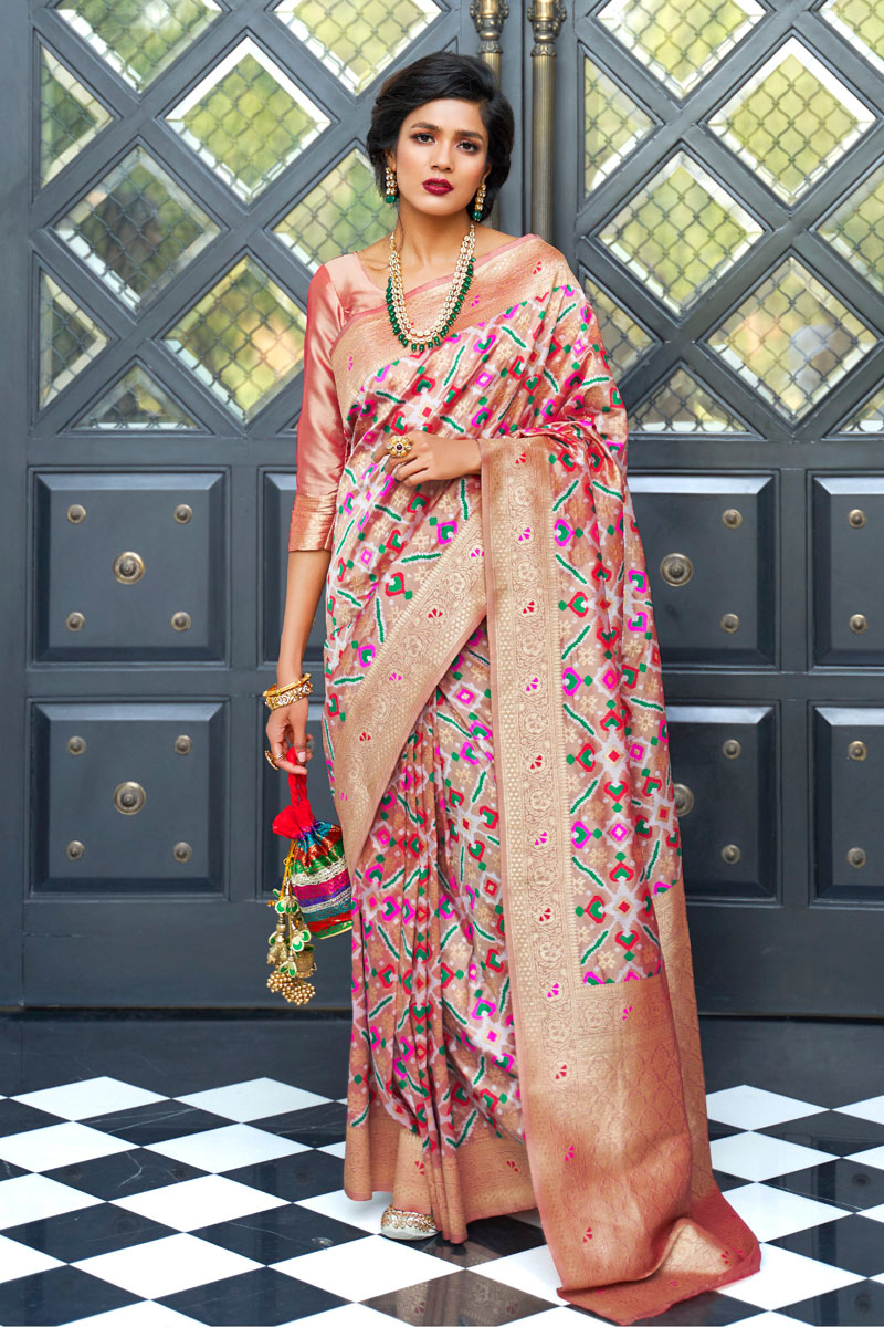 Weaving Work On Designer Saree In Art Silk Chikoo Color With Likable Blouse