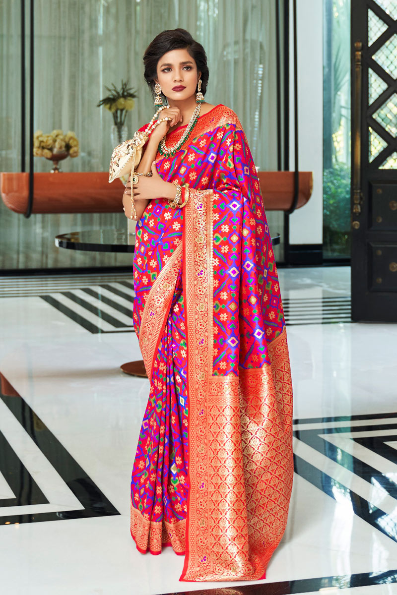 Weaving Work Designs On Rani Color Function Wear Saree In Art Silk With Classic Blouse