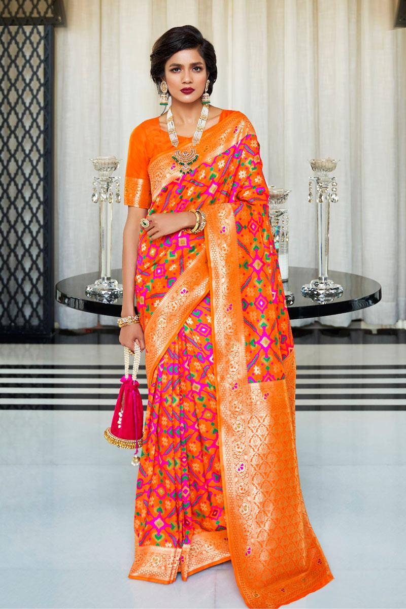 Orange Color Designer Party Wear Saree In Art Silk With Weaving Work