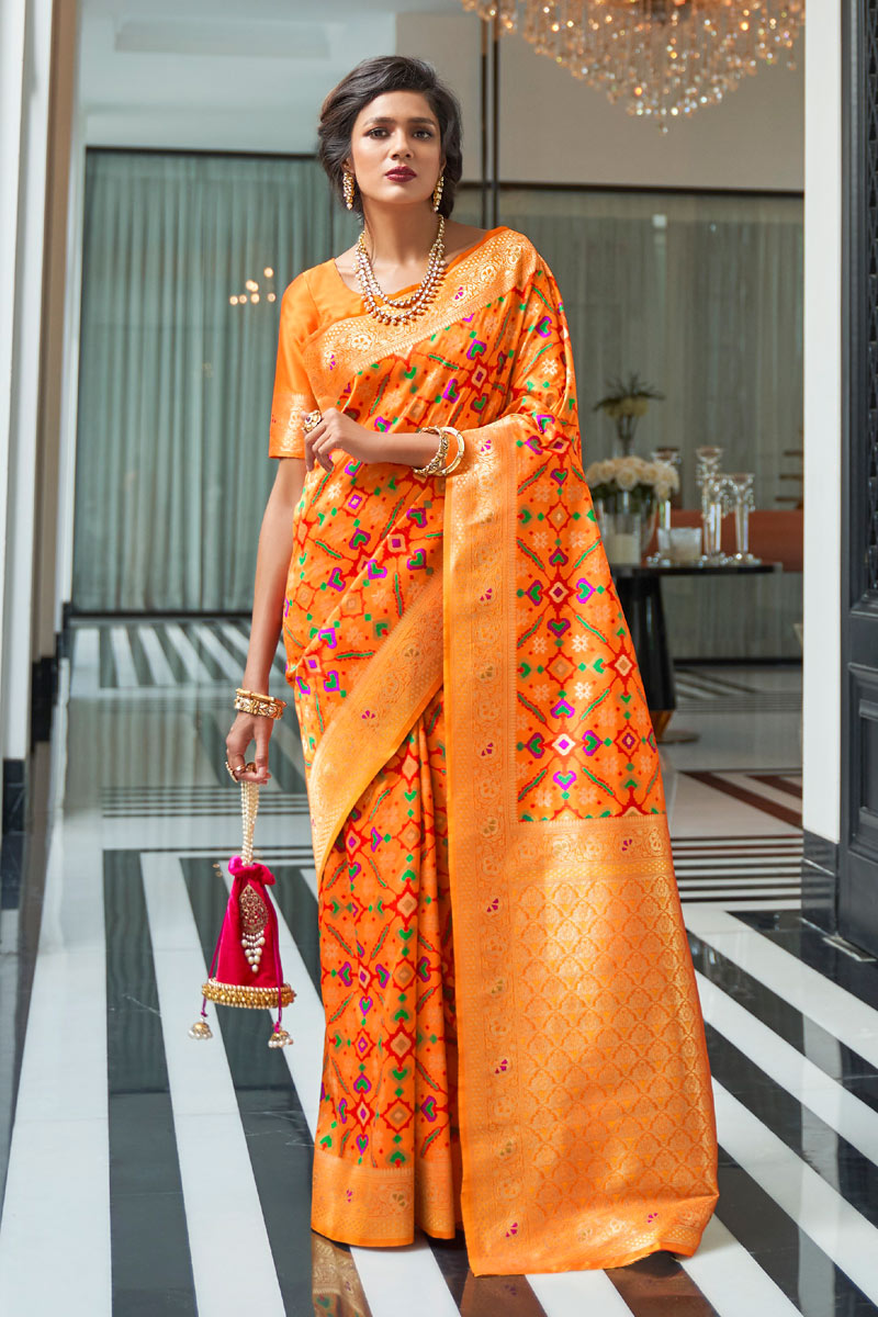 Weaving Work Designs On Art Silk Orange Color Party Wear Saree With Mesmerizing Blouse