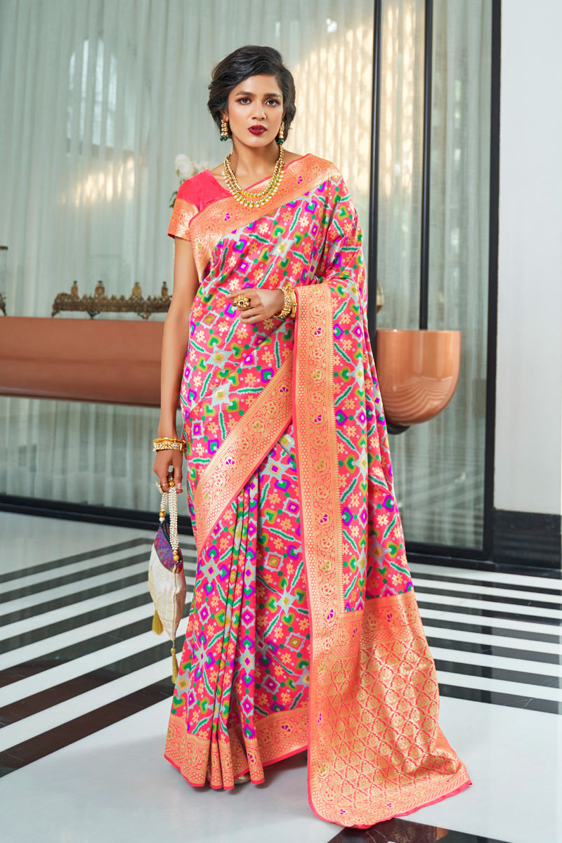 Traditional Pink Color Saree In Art Silk With Weaving Work For Wedding Function