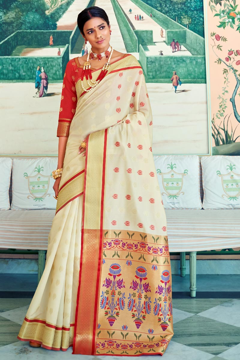 Designer Sangeet Function Wear Art Silk Weaving Work Saree In Beige