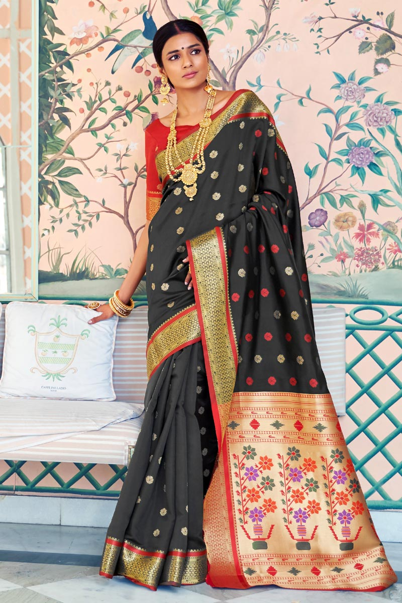 Sangeet Function Wear Art Silk Designer Black Weaving Work Saree