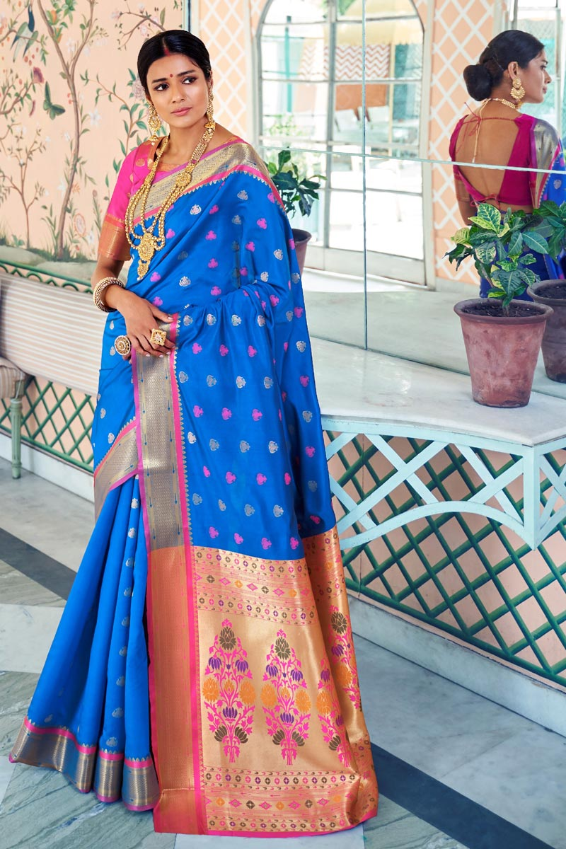 Sangeet Function Wear Art Silk Blue Designer Weaving Work Saree