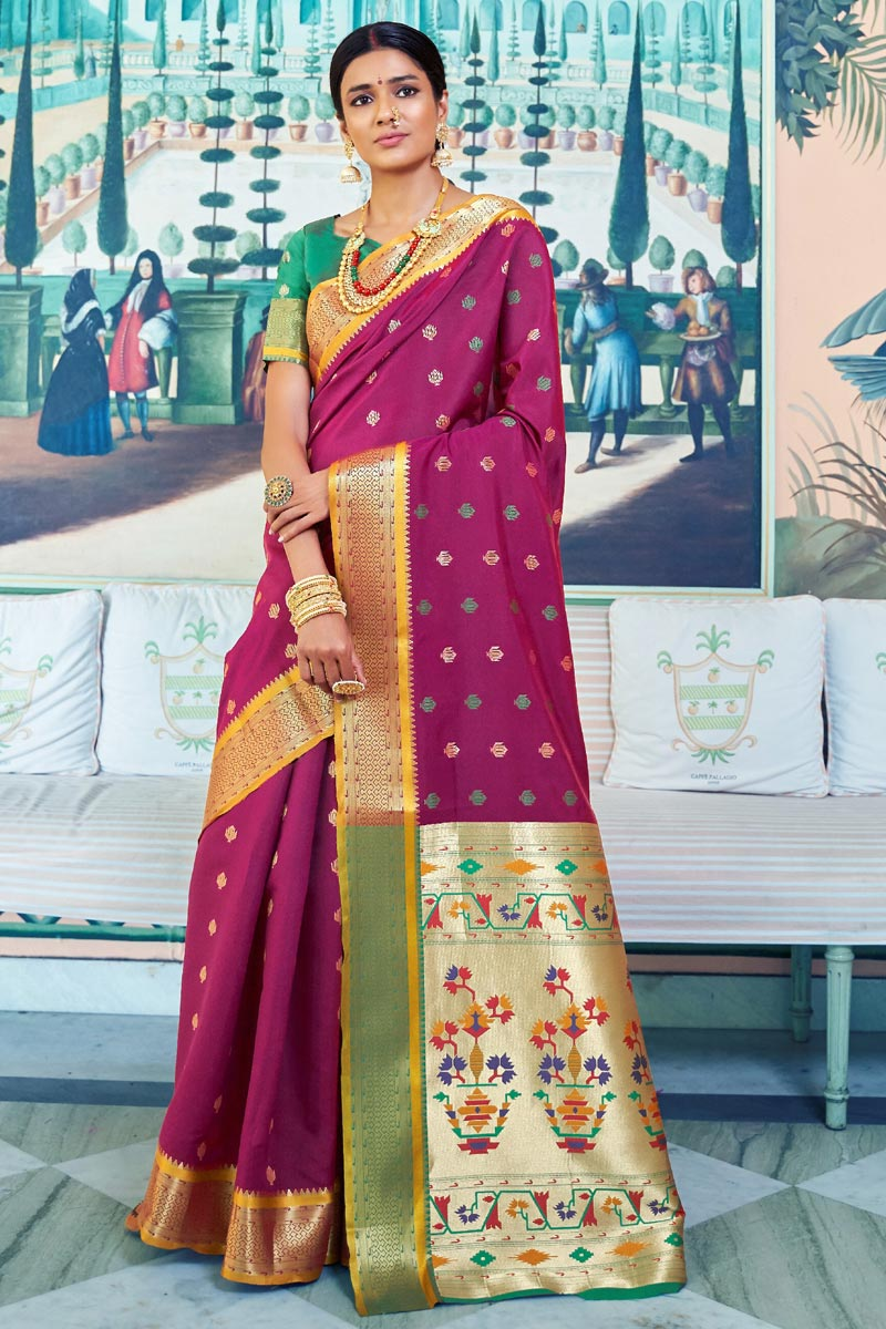 Sangeet Function Wear Art Silk Designer Weaving Work Saree In Burgundy Color