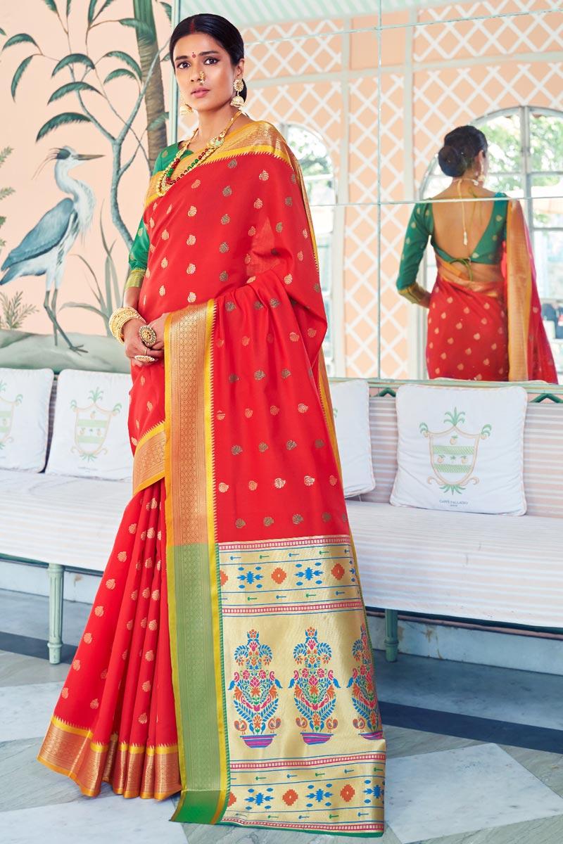 Designer Sangeet Function Wear Red Weaving Work Saree In Art Silk