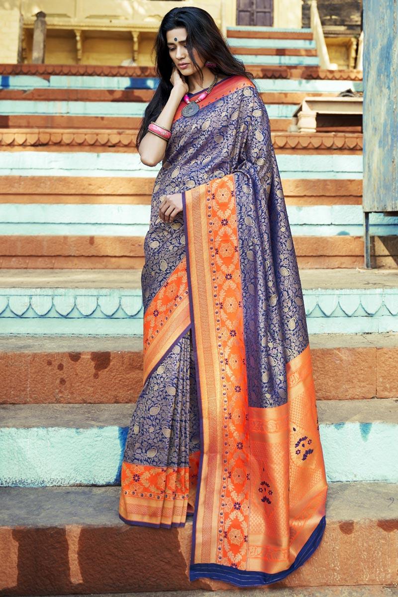 Navy Blue Party Style Art Silk Designer Weaving Work Saree