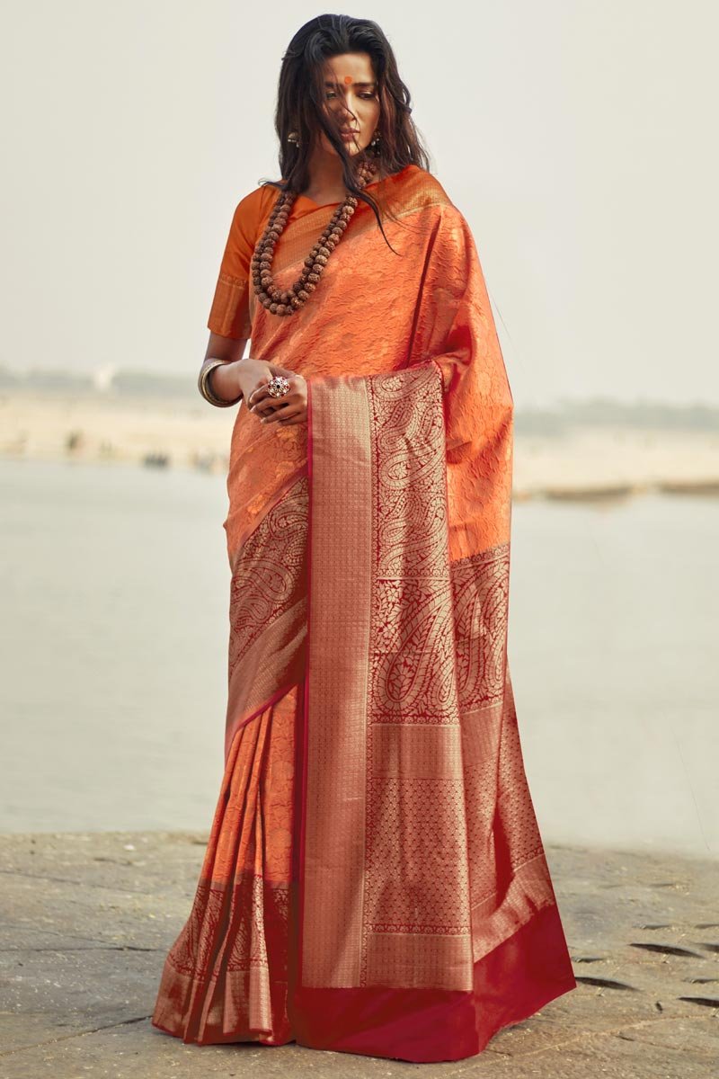 Party Style Designer Peach Weaving Work Art Silk Saree