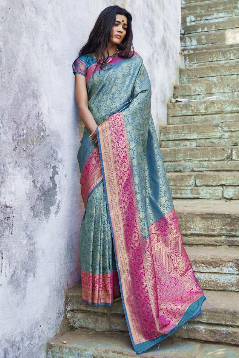 Art Silk Party Style Designer Sky Blue Weaving Work Saree