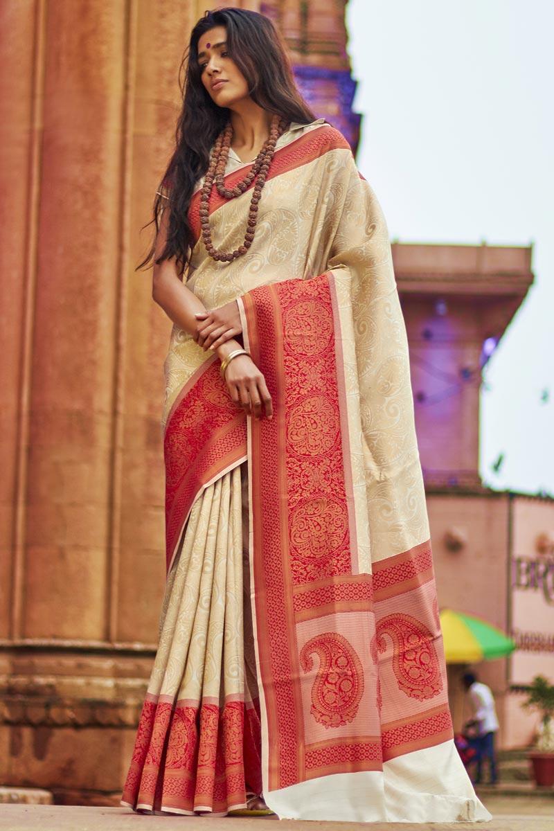 Weaving Work On Party Style Designer Beige Saree In Art Silk