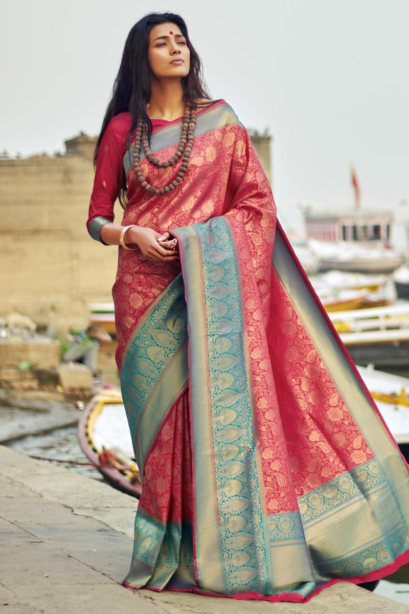 Party Style Designer Art Silk Saree In Pink With Weaving Work