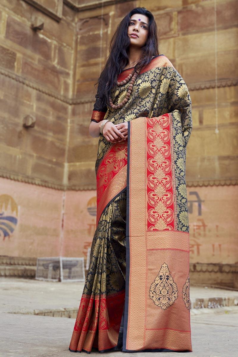 Navy Blue Art Silk Party Style Designer Saree With Weaving Work