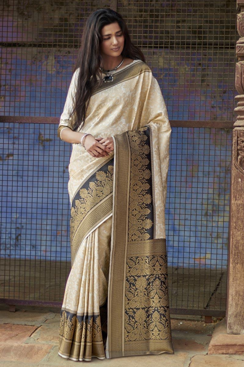 Art Silk Party Style Beige Designer Weaving Work Saree