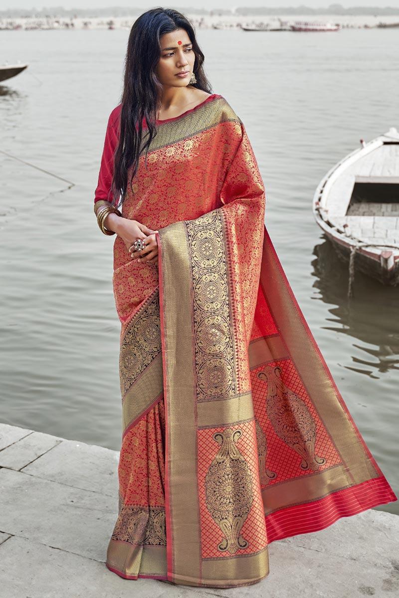 Party Style Designer Art Silk Weaving Work Red Saree