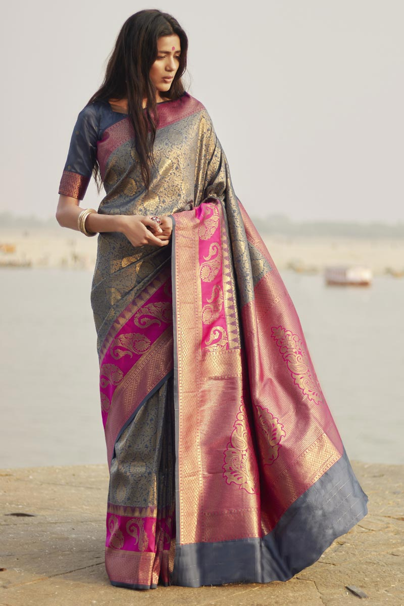 Grey Party Style Designer Art Silk Weaving Work Saree