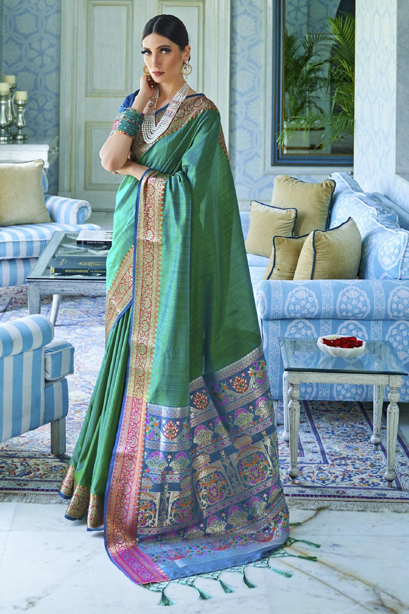 Traditional Wear Art Silk Fabric Classic Weaving Work Saree In Teal Color