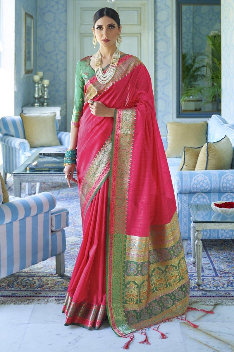 Rani Color Traditional Wear Art Silk Fabric Classic Weaving Work Saree