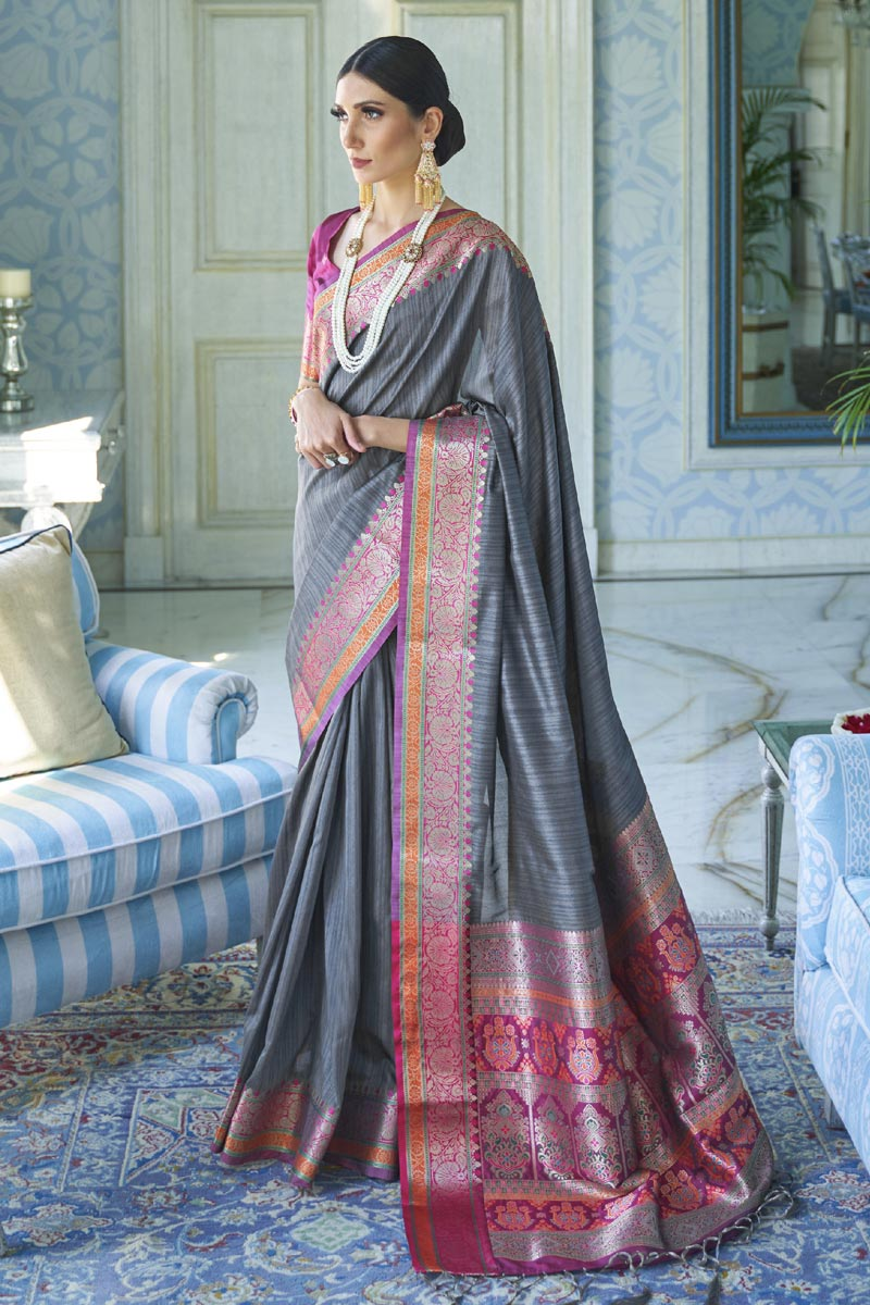 Art Silk Fabric Traditional Wear Classic Grey Color Weaving Work Saree