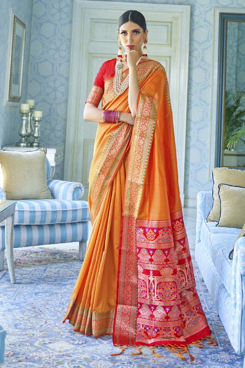 Traditional Wear Orange Color Classic Art Silk Fabric Weaving Work Saree