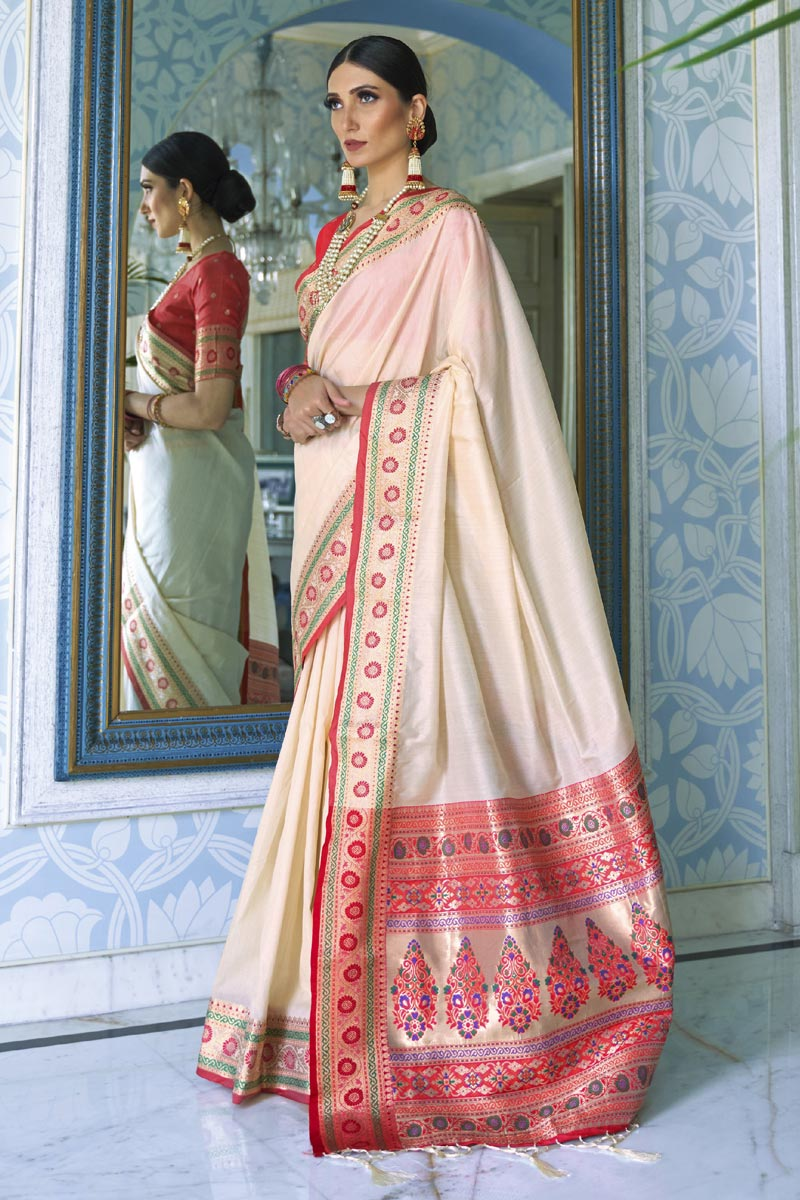 Traditional Wear Art Silk Fabric Classic Weaving Work Saree In Beige Color