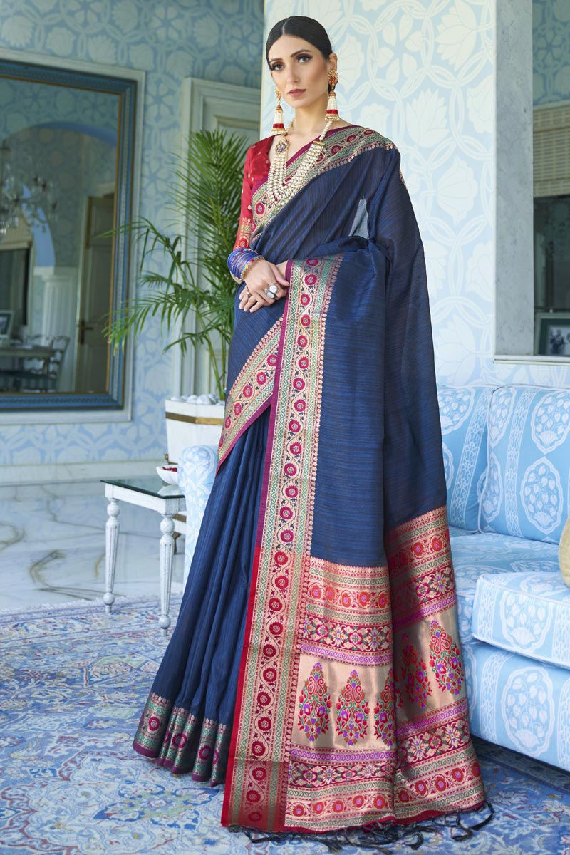 Navy Blue Color Traditional Wear Classic Weaving Work Saree In Art Silk Fabric