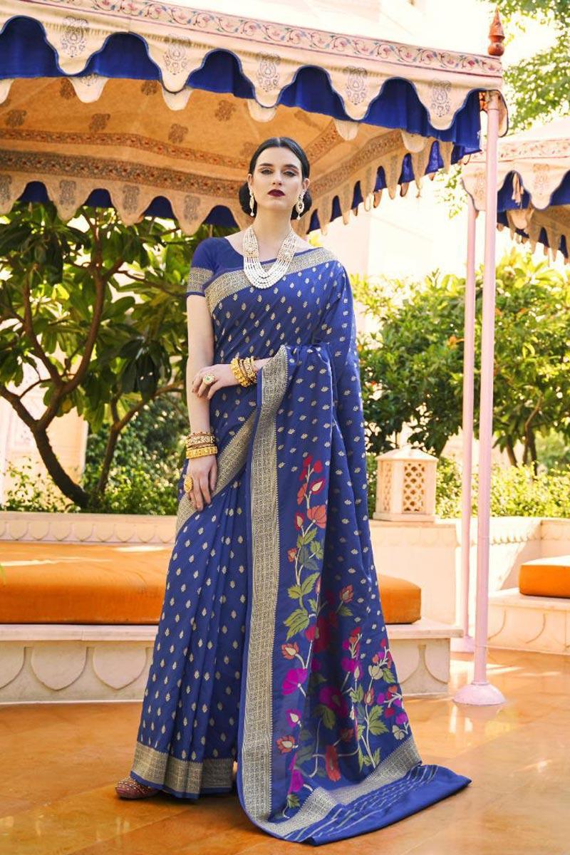 Navy Blue Color Handloom Silk Fabric Sangeet Wear Designer Weaving Work Saree