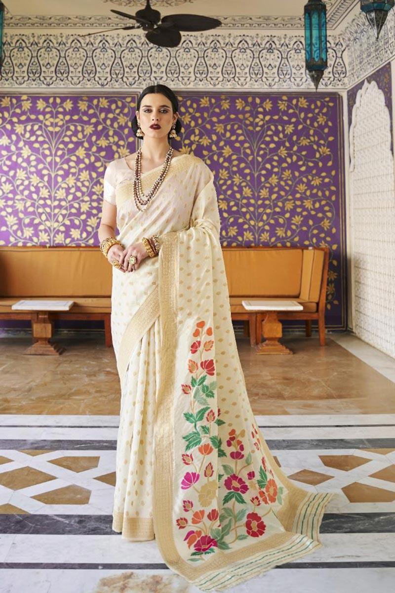 Handloom Silk Fabric Designer Sangeet Wear Beige Color Weaving Work Saree