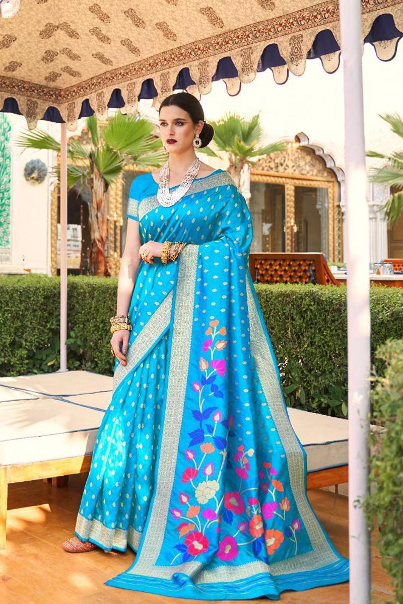 Handloom Silk Fabric Sangeet Wear Designer Sky Blue Color Weaving Work Saree