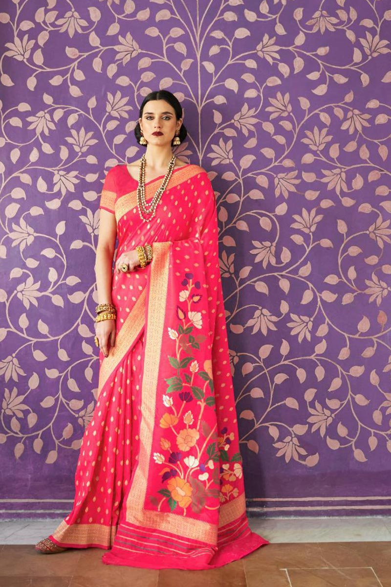 Handloom Silk Fabric Designer Sangeet Wear Rani Color Weaving Work Saree
