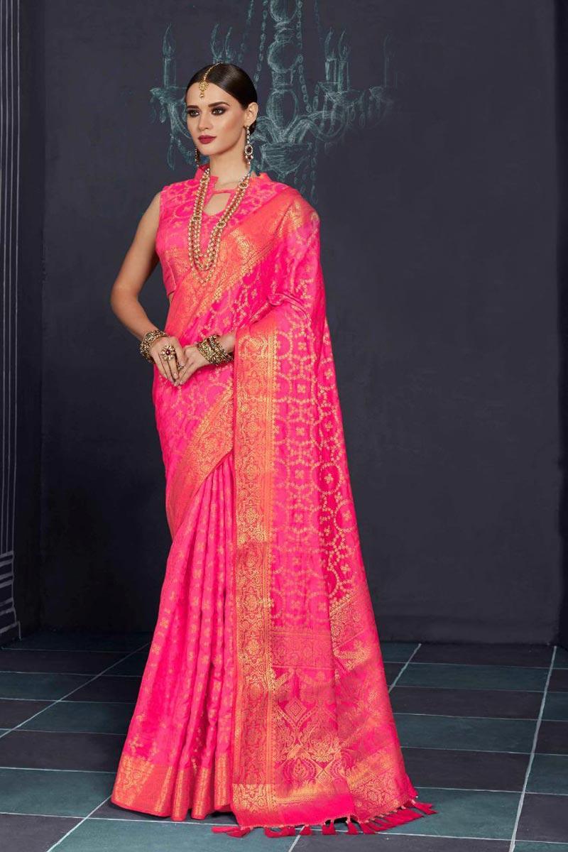 Sumptuous Art Silk Party Wear Pink Printed Designer Saree